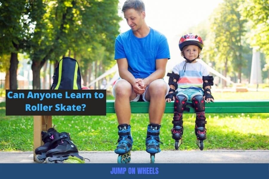 Dad and son preparing to rollerblade
